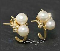 Diamant & Perlen Ohrringe 585 Gold; 0,12ct; Top Wesselton & Si; Damen Ohrstecker