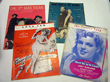 Lot of 4-1940's sheet music-Long Ago-The Trolley Song-3rd Man Theme-And You'll B