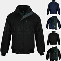 Mens Sky Diver Bomber Jacket Padded Quilted Checked Tartan Winter Trendy Coat