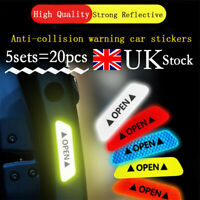 20Pcs 5 Sets Car Door Open Sticker Reflective Tape Safety Warning Decal Sign UK