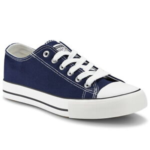 Women's Authentic Trainer Low Top Shoes Ladies Casual Canvas Sneakers Dark Blue
