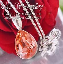 925 SILVER NECKLACE CRYSTALS FROM SWAROVSKI® PEAR FANCY STONE 14MM ROSE PEACH F