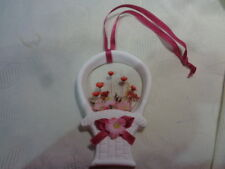 Korb Keramik mit Blumen Wandbehang  12 cm plus Band  NEU