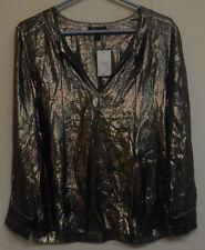 NWOT Women's J. Crew LS Semi-Sheer Silk Popover Blouse, Gold, Size 4.