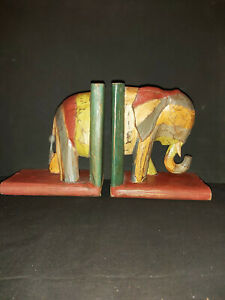 LARGE SOLID WOOD RUSTIC ELEPHANT BOOKENDS