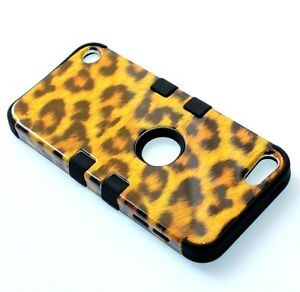 iPod Touch 5th 6th 7th Gen HARD&SOFT RUBBER HYBRID ARMOR SKIN CASE BROWN LEOPARD