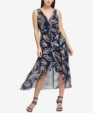 DKNY SLEEVELESS WRAP CHIFFON NAVY DRESS - Size 8 - MSRP $134