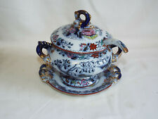 Antique Masons Ironstone Flying Bird pat sauce tureen,stand,cover & ladle