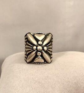 Navajo Handmade Sterling Silver Ring by Delbert Gordon Size 10