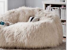 XLARGE WHITE FAUX FUR FLUFFY SOFT GENEROUS SIZE BEANBAG COVER BEAN BAG130Hx120D