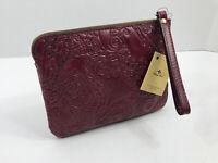 Patricia Nash Cassini Tooled Paisley Leather Wristlet Clutch Deep Raspberry NWT