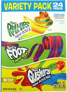 Betty Crocker Variety Pack Gushers Fruit Roll-Ups By the Foot Snack 24 ~ 9.96oz