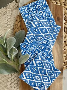 Coasters Hampton's Beach Blue White Pattern Decor Dining Home Aztec Abstract