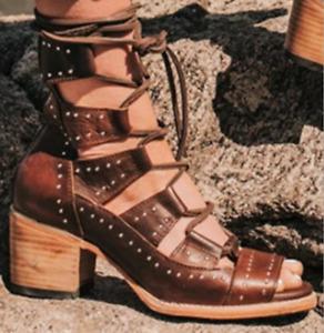 Women Peep Toe Block Low Heels Hollow Out Summer Boots Retro Cross Straps Sandal