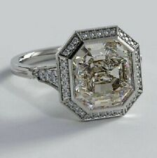 2.72 Ct Near White Asscher Cut Moissanite Engagement Ring 925 Sterling Silver