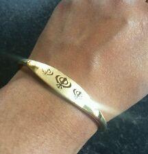 Unisex Stunning GOLD Plated Laser Engraved Khandas Sikh Kara Hindu Open Kada A1