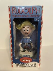 Rudolph The Red-Nosed Reindeer Bobblehead- 2002 HERMEY In Box
