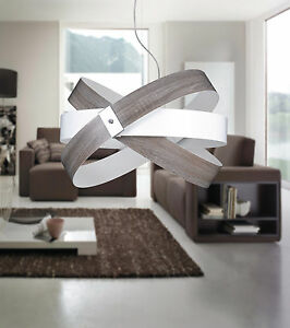 Hanging Modern Chandelier Effect Wood Chrome Circle Colors