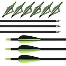 6x 32'' Archery Fiberglass Arrows SP 600 Hunting Target With 3 Blades Broadheads