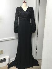J. Mendel Lace Gown Dress Black Long Sleeve NEW $5990 Size 6