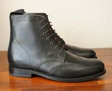 NEW | GRENSON 7 8 FRED WING TIP BLACK BROGUE SOLE METAL EYELETS LEATHER