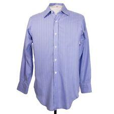Turnbull & Asser Mens 15 x 32 Blue Green Stripe Button Front Dress Shirt