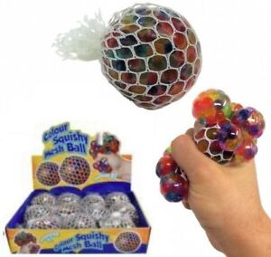 7cm Colourful Rainbow Mesh Ball Grape Squishy Stress Relief Kid Party Filler Toy