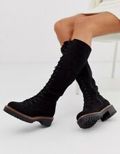ASOS DESIGN Courtney chunky lace up knee high boots - Size 5