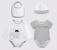 Gucci Baby Unisex Puppy Dots 4 Piece Gift Set White/Grey Made in Italy Sz 9/12m