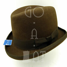 RETRO Wool Felt Men Homburg Top Hat Gentlemen Fedora Gutter Crown | 61cm | Brown
