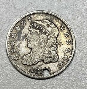 1829 Capped Bust H10C 5C Silver Half Dime Holed