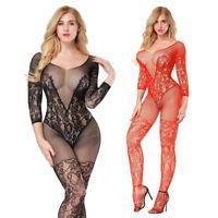 FT- JN_ Women Underwear Floral Body Stockings Sexy Hollow Long Sleeve Nightwear