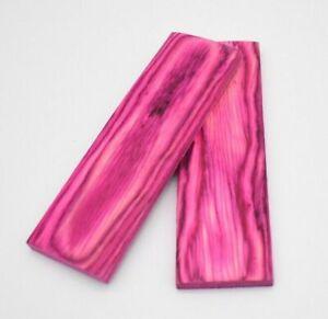 130mm Pair of Pink Pakka Wood Scales Knife Handle Making Blanks