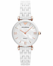 NEW EMPORIO ARMANI AR1486 LADIES WHITE CERAMIC WATCH - 2 YEAR WARRANTY