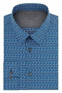 Calvin Klein Mens Dress Shirt Blue Size Large L Abstract Slim Fit $79 028