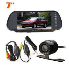 """Wireless Mini Car Rear View Reverse Camera 170º + 7"""" LCD Monitor Mirror Kit"""