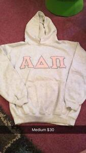 ADPi Sweatshirt: Pink Stiched Letters with Grey Rim. (Alpha Delta Pi Sorority)