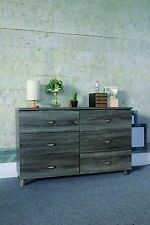 Y1604 Smart Home Distressed Grey Organizer Storage 6 Drawers Chest Dressers