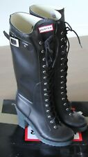 NEW Hunter Lapins Tall Heel Rubber Rain Boots RARE M8/W9 UK 7 BLACK