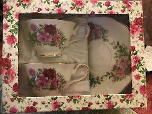 Tea and Chi With 2 cups and saucers Brand New 4 sets of Teas