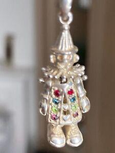 Rare vintage Moveable Clown Pendant 925 Sterling Silver Necklace Elizabeth Duke