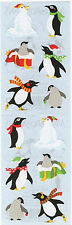 Mrs. Grossman's Stickers - Holiday Penguins - Santa Hat, Scarf, Snow - 4 Strips