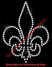 "2 Rhinestone Iron On Transfers Hotfix Bling Fleur de lis 3.5"" x 2.75"""