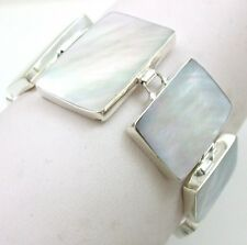 "Handmade Mother of Pearl 925 Sterling Silver bracelet 7""-8"" adjustable ;SA009"