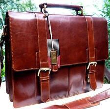 XL Porte-Documents Sac bandoulière Messager véritable cuir marron vintage