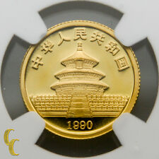 1990 Gold Chinese Panda 1/10 oz 10 Yuan Graded by NGC MS 69 Large Date