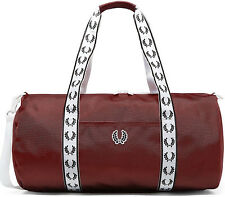 FRED PERRY 2018 Track Barrel Bag MAROON Red Gym LAPTOP Work Travel Backpack SALE
