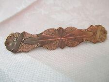 Antique gold plated bar Brooch etched hammered design