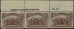 #231 TOP PLATE #82 STRIP OF 3 1893 2c COLUMBIAN ISSUE MINT-OG/NH-REINFORCED PERF