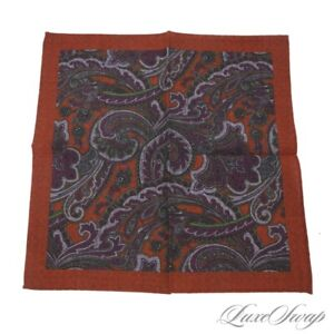 NWOT Italy Reversible Wool Muted Orange Paisley Neat Medallion Pocket Square NR